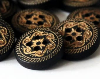 10 Black Wood Buttons 18mm - Floral Pattern Design - Carved Pattern - Wooden Buttton - Flower Buttons - Black Buttons - NW47