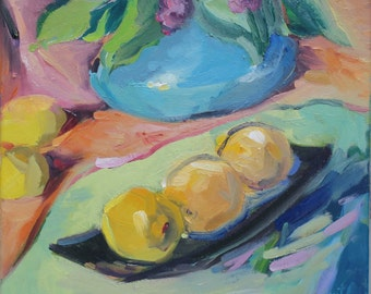 impressionist still life painting - 'Lemons and Leaves'- medium oil painting floral - colorful impressionistic oil painting from life - art