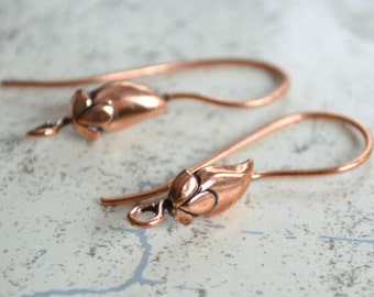 10pcs 5 Pair Earwire Antiqued Copper 25mm Fishhook French Hook 20 Gauge 10x5mm Leaf