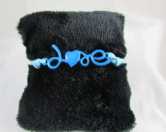 "Blue waxed cotton bracelet ""LOVE"" with adjustable wrist"