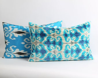 Blue ikat velvet pillow cover with silk ikat backing // 16x24 inch Handwoven & hand-dyed pillows
