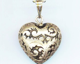 Vintage Silver Plated Heart Pendant . Silver Plated Ball Chain. Love Necklace . Bali Style Jewelry - My Heart by enchantedbeas on Etsy