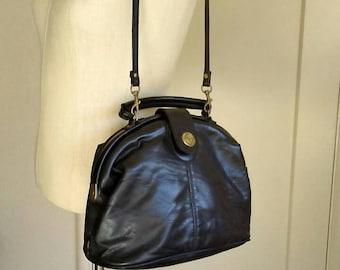 80s black pouch purse, hand bag option / faux leather crossbody tote bag, vintage Capezio's purse