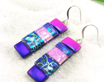 Dichroic glass earrings, fused glass jewelry, dichroic glass, Hana Sakura, Trending jewelry, purple earrings,unusual earrings, glass fusion