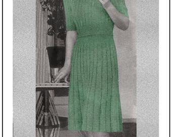 1940s Wartime Ribbed Dress Knitting Pattern - Instant Download - PDF