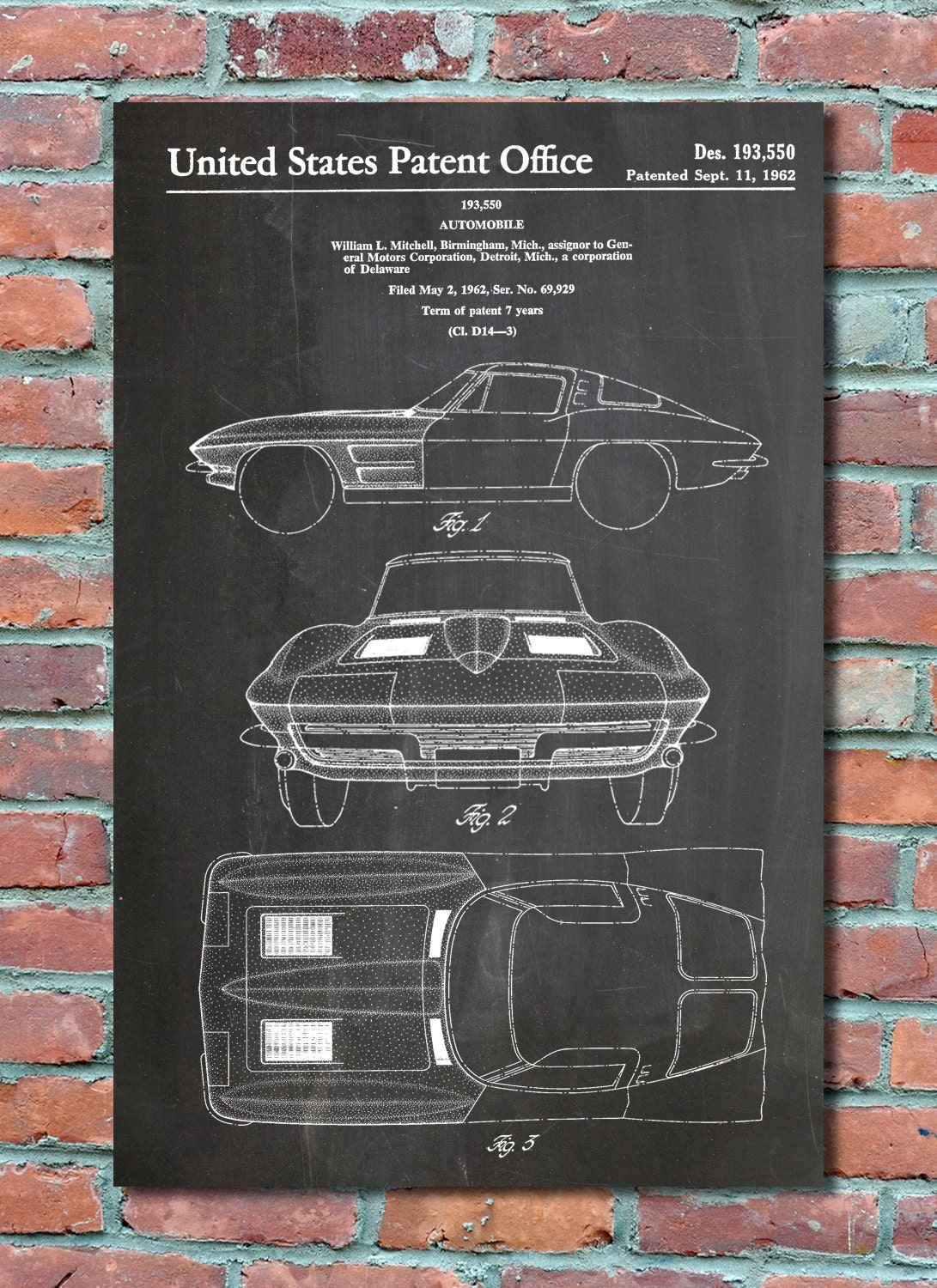 Corvette stingray patent wall art print corvette patent art zoom malvernweather Image collections