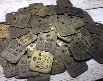 10 Vintage Brass Tag General Motors GMC Chevy Chevrolet Tool Check Car Truck Auto Metal Number Tag Industrial Keychain Stocking Stuffer