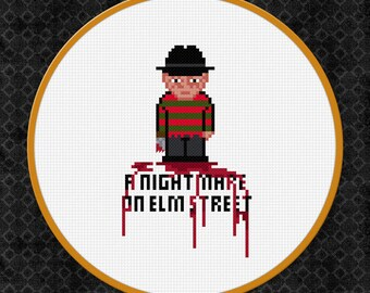 Freddy Krueger Cross Stitch Pattern   Horror Cross Stitch Pattern   Horror Movie Cross Stitch Chart   Blood Cross Stitch Chart   Elm Street