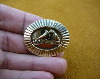 little Nipper dog and phonograph dogs lover textured and sunburst oval Victorian BRASS pin pendant brooch B-DOG-105