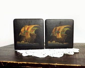 Vintage Black Leather Bookends, Color Embossed Galleon Ship Book Ends, Nautical Library Decor