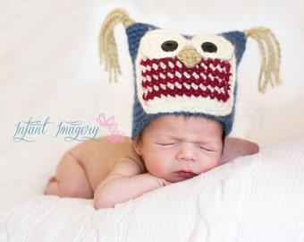 Owl Hat Crochet Pattern - Baby Owl Hat Pattern - Baby Crochet Pattern - Newborn Photo Prop Pattern - Animal Hat Crochet Pattern