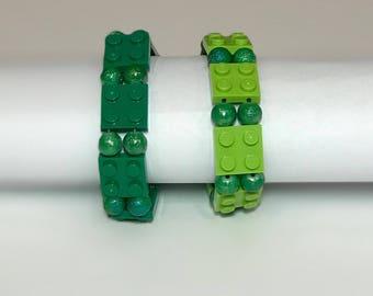 Lego Bracelets With Green Glass Beads