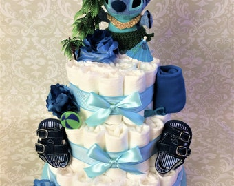Aloha! Baby Boy 3 tier Diaper cake, a Hawaiian themed Hula cake - an adorable diaper baby shower gift - made to order