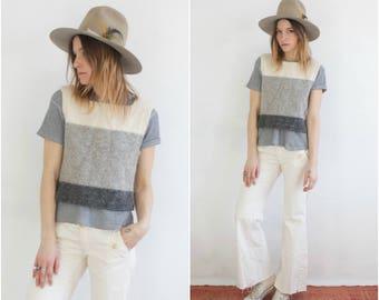 Color Block Knit Vest // Vintage Minimalist Grey White Ombre Gradient Waistcoat Sweater White Cream Stripe Layering Cozy Top
