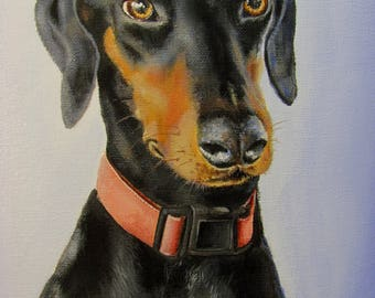 Pet Portrait  Original Acrylic Painting, Unframed, Unstretched Canvas