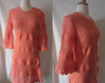 1960s crochet knit dress | 60's Boho Hippie