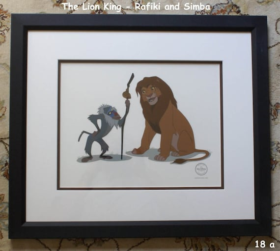 Disney The Lion King Rafiki & Simba Sericel LE 5000 Framed