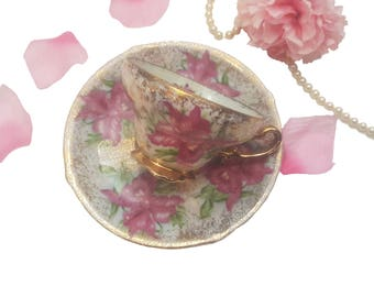 Ornate Trimont Teacup with Pink Orchids, Made in Japan, Gold and Pink Floral Teacup, Shabby Chic