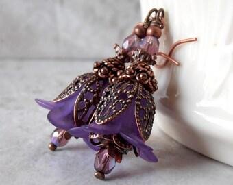 Dark Purple Flower Earrings, Antiqued Copper Earrings, Vintage Style Bead Earrings, Flower Dangle Earrings, Lightweight Earings, Under 25
