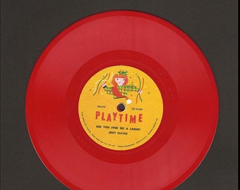 Did You Ever See A Lassie & Looby Loo - Playtime Nonbreakable Columbia Record #344-PV - 78 RPM Red Vinyl - Vintage Children's Record Album