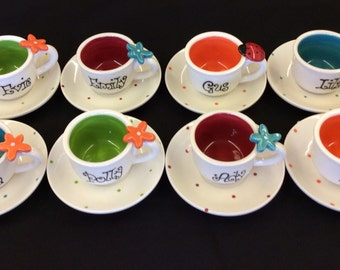 Bright Colored Child size Personalized tea cup and saucer party favors