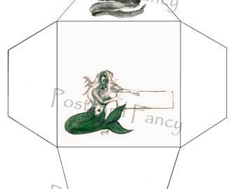 Mermaid and eel, PRINTABLE Envelope Template, Instant DIGITAL Download, BEACH Mail
