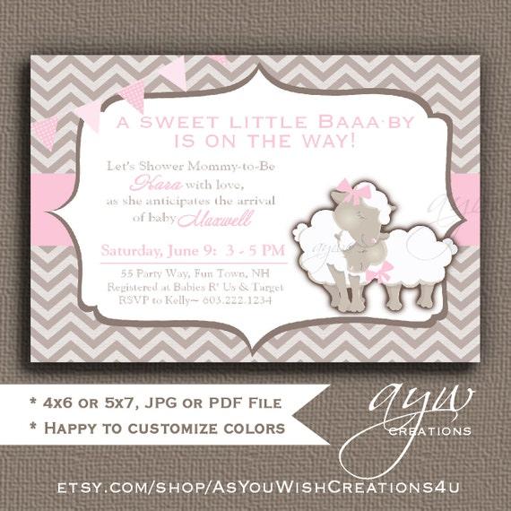 Sheep Baby Shower Girl Invitation Lamb Baby Shower Invitation