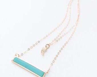 Set The Bar - gold vermeil turquoise bar pendant and rhinestone pavé horn charm necklace.