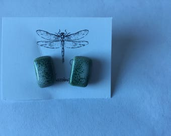 Green / white porcelain post earrings with glossy finish