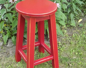 "Reclaimed /wood/ bar stool/ counter/ bar/ round stool/ painted/ distressed/ colors/ 25"" to 30"" H"