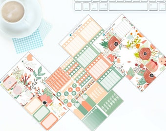 Peaches & Green - Weekly Kit Stickers for Erin Condren Vertical LifePlanner *NEW PREMIUM PAPER!*