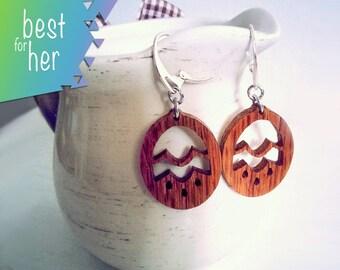 Wood Flower Earrings - Wood Boho Earrings - Wood Dangle Earrings - Organic Earrings - Gift Under USD 10 - Eco Friendly - Mother's Day Gift