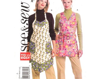 Retro Apron Sewing Pattern Full Bib Apron, Wrap Apron Butterick 5274 Hostess Apron Pockets Trim Womens Size 8 to 18 UNCUT