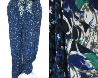harem trousers high waist floral print vintage 90s 1990s blue abstract avant soft pockets pants hipster cottage chic casual nice medium M
