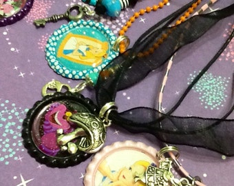 Party Gifts--10 Bottle cap necklaces, Birthday Favors, Alice in Wonderland Inspired party