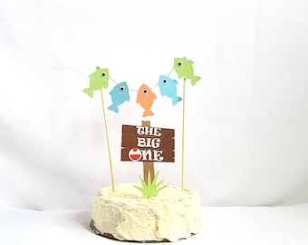 The big one fishing cake topper, first birthday fishing cake topper, fishing birthday party, fishing decorations, fishing birthday banner