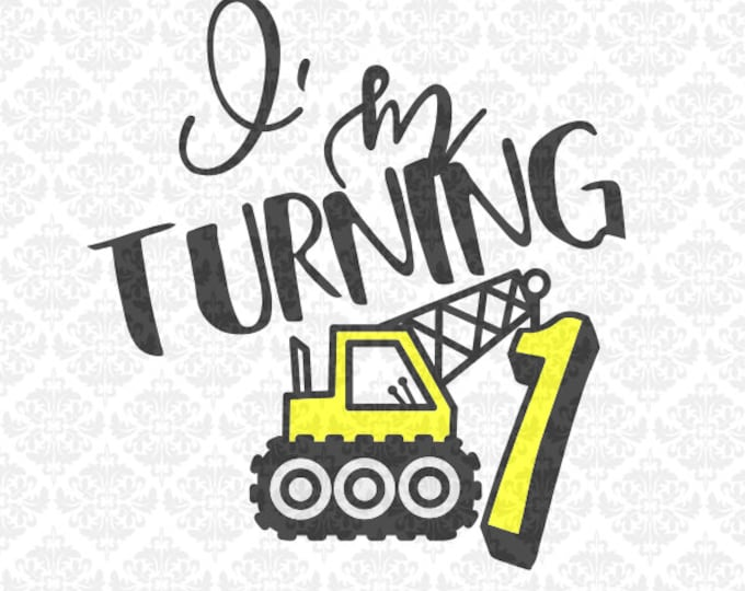 Crane Construction Truck Tractor Boys Birthday Shirt SVG STUDIO Ai EPS Scalable Vector Instant Download Commercial Use Cricut Silhouette