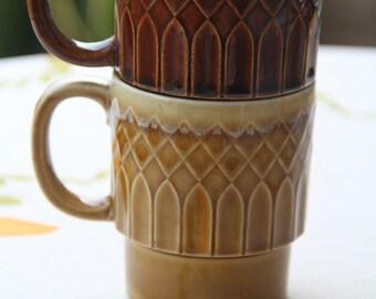Retro Vintage 1970's Harlequin Coffee Mugs set (2)