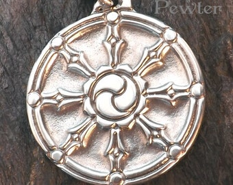 Dharma roue - pendentif étain - bouddhiste bijoux, chemin d'Action droit, vivant en équilibre avec la Compassion et apportant bon dans tout ce que vous faire.
