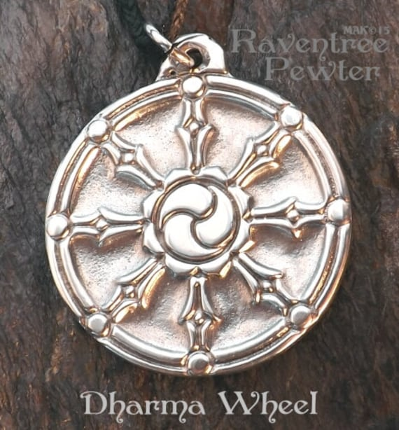 Dharma wheel pewter pendant buddhist jewelry path of zoom aloadofball Gallery