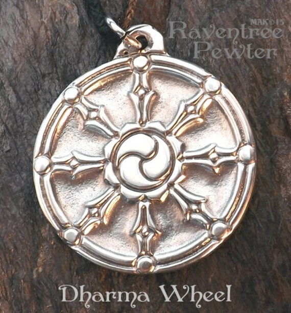 Dharma wheel pewter pendant buddhist jewelry path of description enclosed card reads dharma wheel aloadofball Gallery