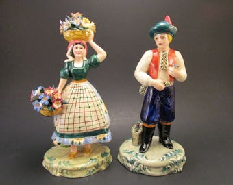 1940s Italian Ceramic Majolica Figures, Faience Man and Woman Basket Flowers, Hand Painted Porcelain Italy Figurines