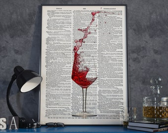 Red Wine Print, Red Wine Poster, Red Wine Art Print, Wall Art, Wall Decor, Wine Poster, Wine Art Print, Wine Printable Art, Instant Download