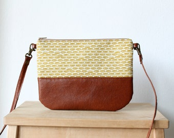 Crossbody vegan leather bag, Clutch Purse, Organic cotton, Mustard yellow, Every day bag, Brown