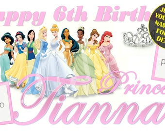 Happy Birthday Banner, Birthday Banner, Custom banners, Party Banners, Personalised Birthday Banners, banners and signs, Disney Princess
