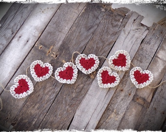 Primitive Heart Garland, Valentine Decor, Heart Banner, Photo Prop, Country Wedding, OFG FAAP