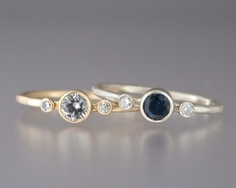 Custom Three Stone Sapphire Engagement Ring - Choice of White or Blue Sapphires, Solid 14k White or Yellow Gold