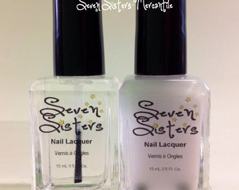 Shiny and White Cotton Undies - Seven Sisters Nail Lacquer - 15 mL 0.5 Fl Oz. - Top Coat and Base Coat Duo