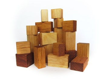 Wood Building Blocks - 22 Wooden Blocks - Gift baby - Wood Stacking Toy - Natural Toy - Organic Wooden Toddler Childrens Toys - Waldorf Toy