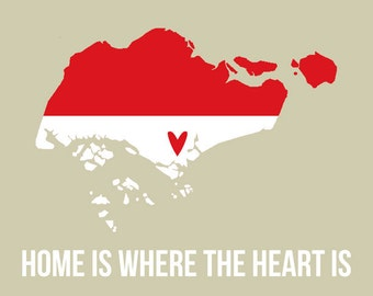 Singapore Map Print, Home is Where the Heart is, Modern Travel Quotes Wall Art, Flag Print, Red and White,  I heart Asia SALE buy 2 get 3